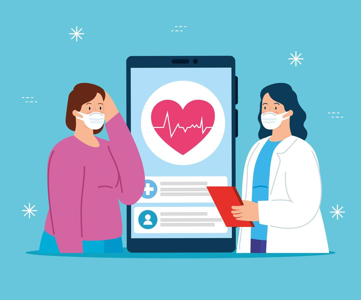 telemedicinsteknik med läkare och sjuk kvinna vektor