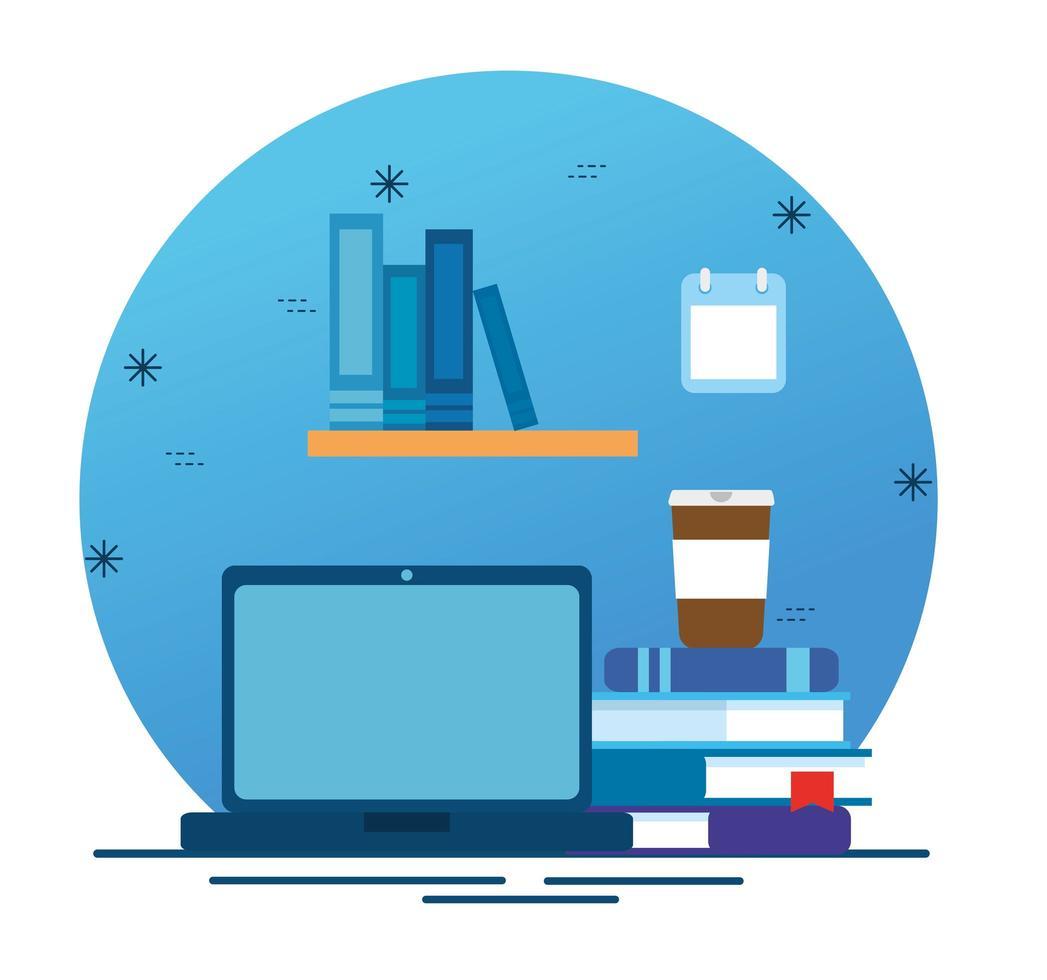 online-utbildningsteknik med bärbar dator och ikoner vektor