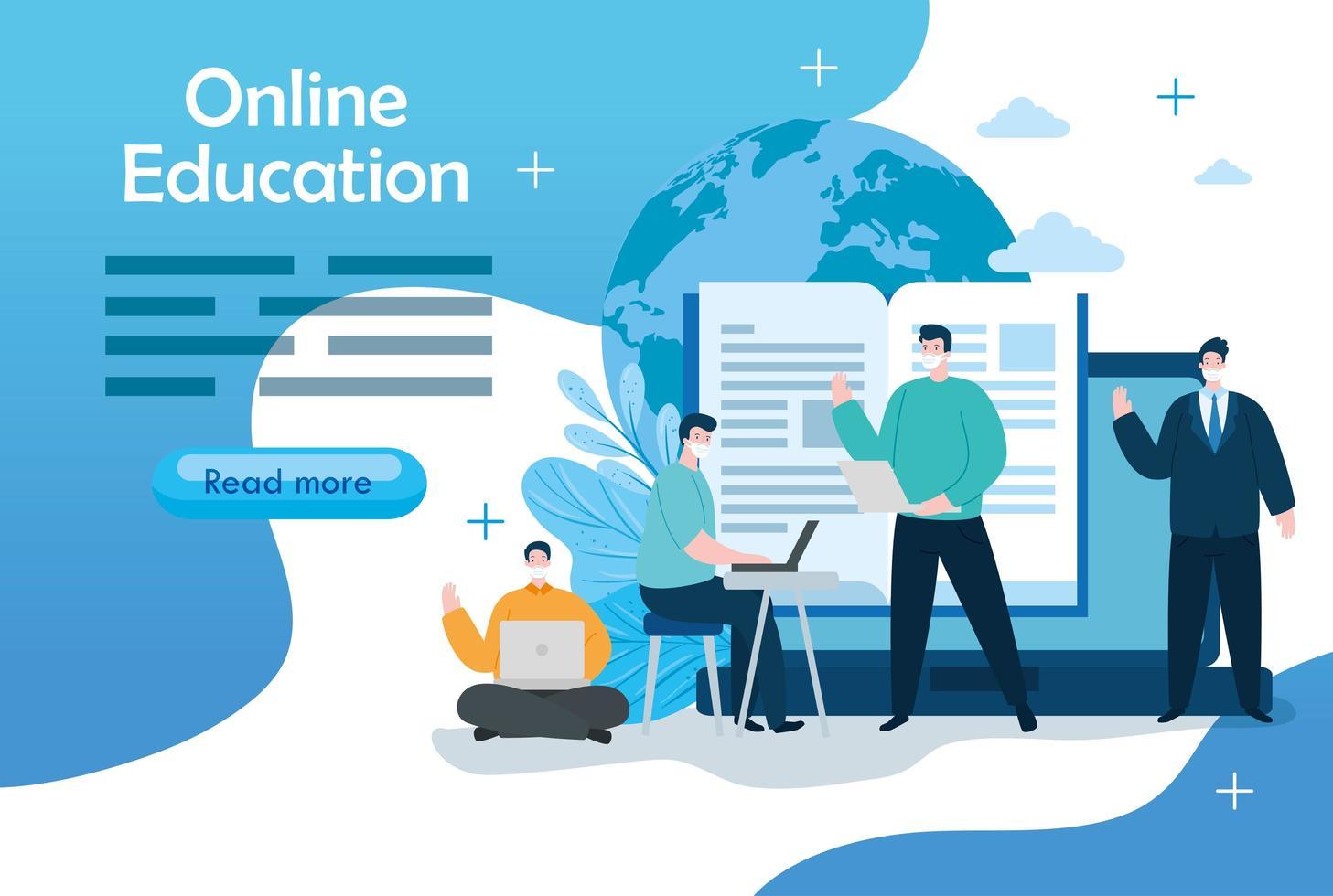 online utbildningsteknik män med ikoner banner mall vektor