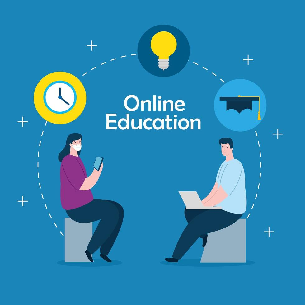Online-Bildungstechnologie-Paar vektor