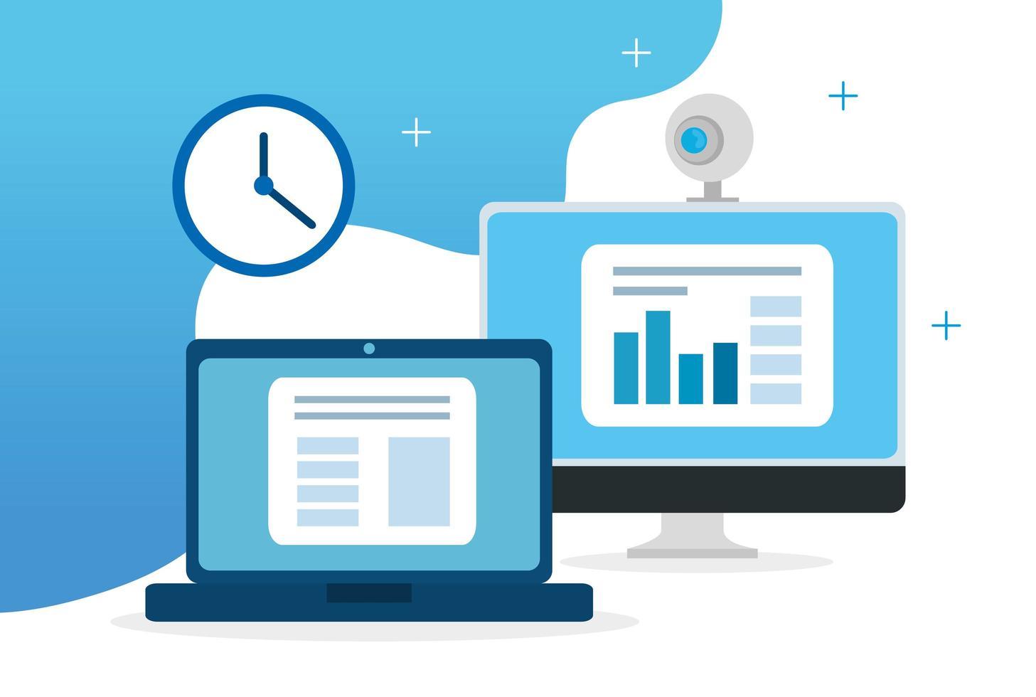 online-utbildningsteknik med bärbar dator och dator vektor