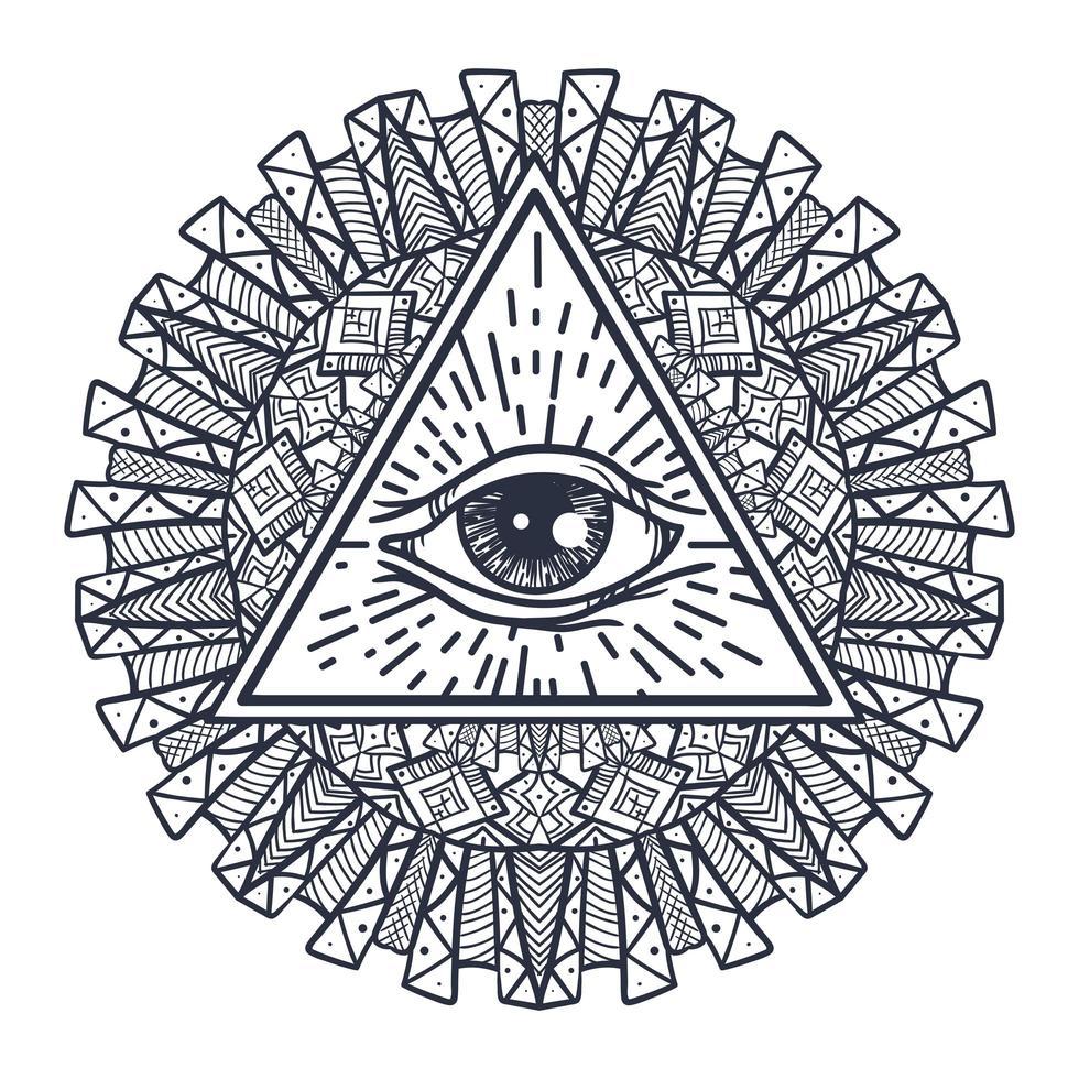 Alle sehen Auge in Dreieck und Mandal vektor