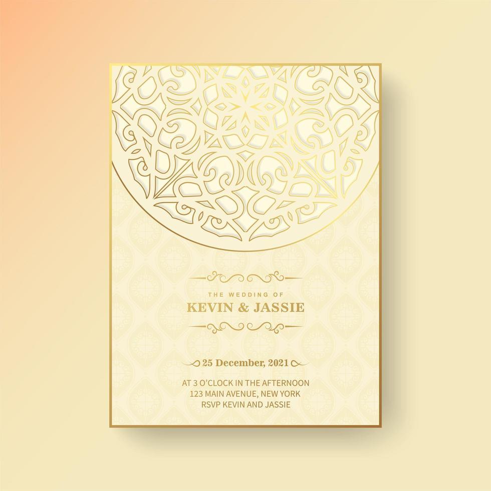 gul mandala stil bröllopsinbjudan vektor