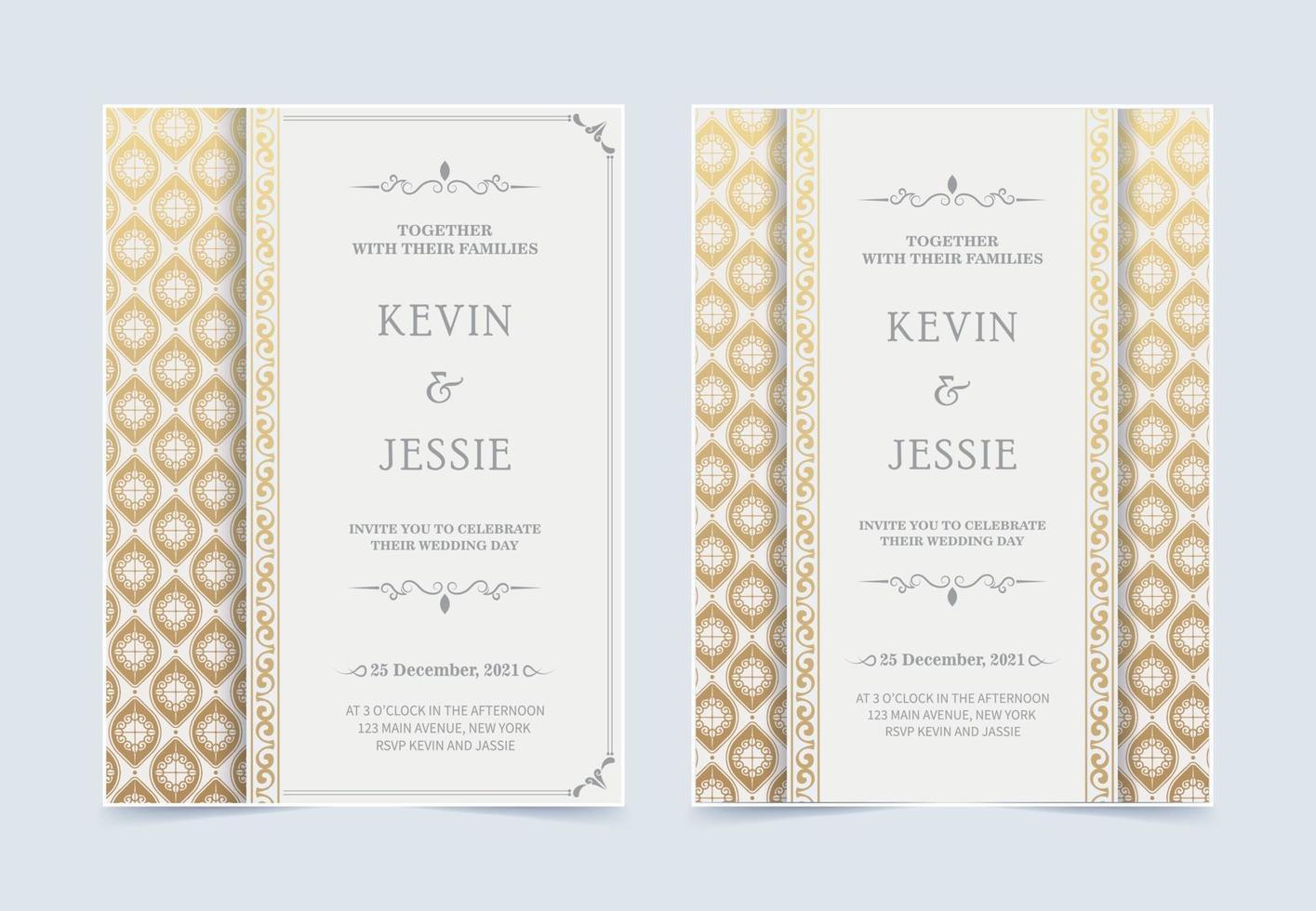 lyx vit bröllopsinbjudan med gyllene mönster vektor