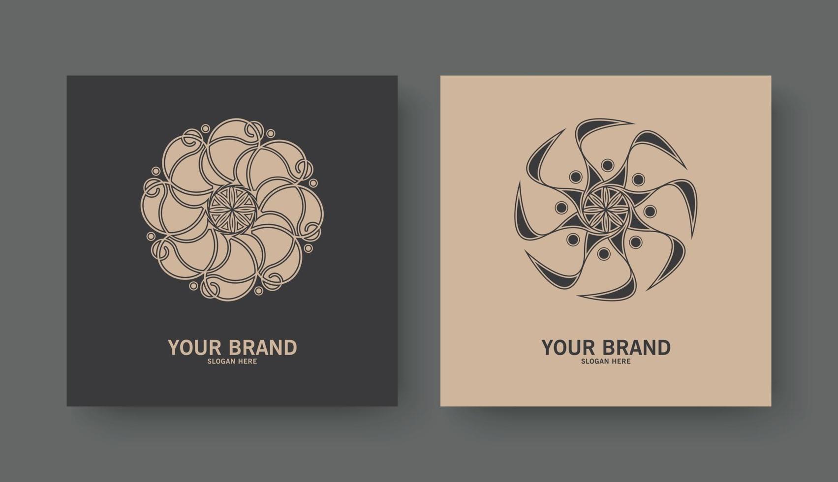 retro blommig logotyp med prydnadsdesign vektor