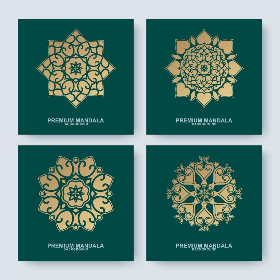 uppsättning gyllene mandalasamlingar vektor