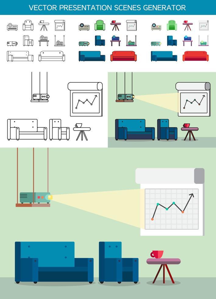 Präsentationssymbole mit Projektor vektor