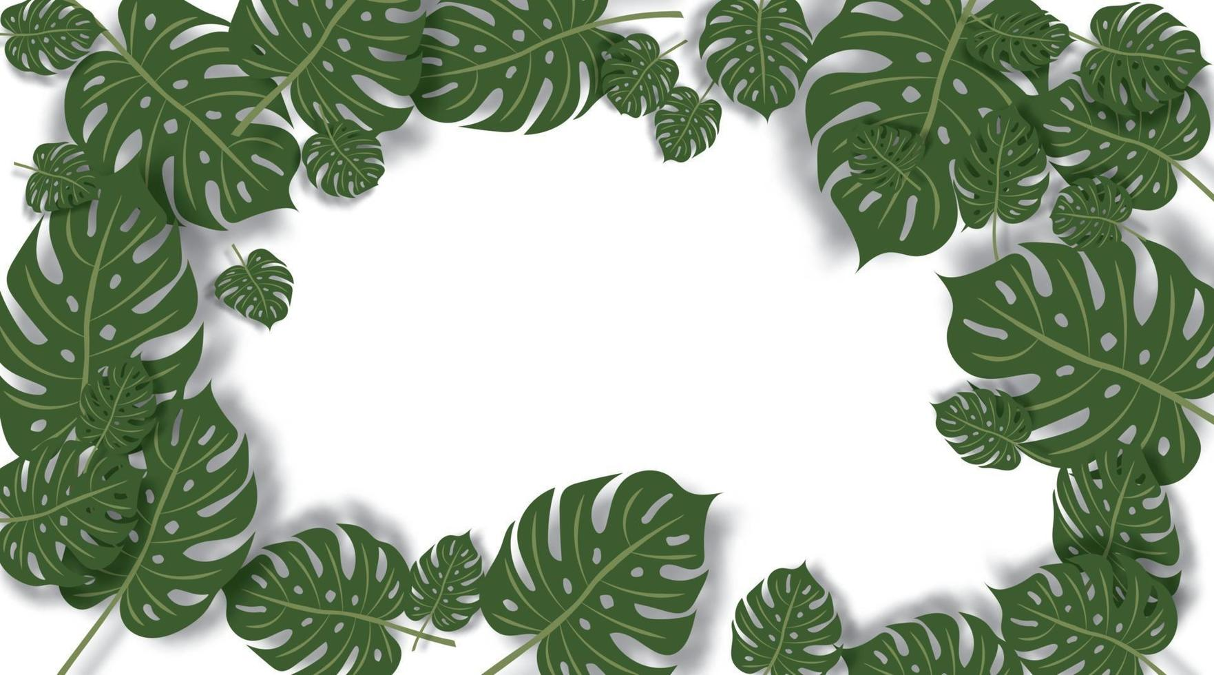 gröna blad vektor bakgrund. gröna blad gränsutrymme för text.