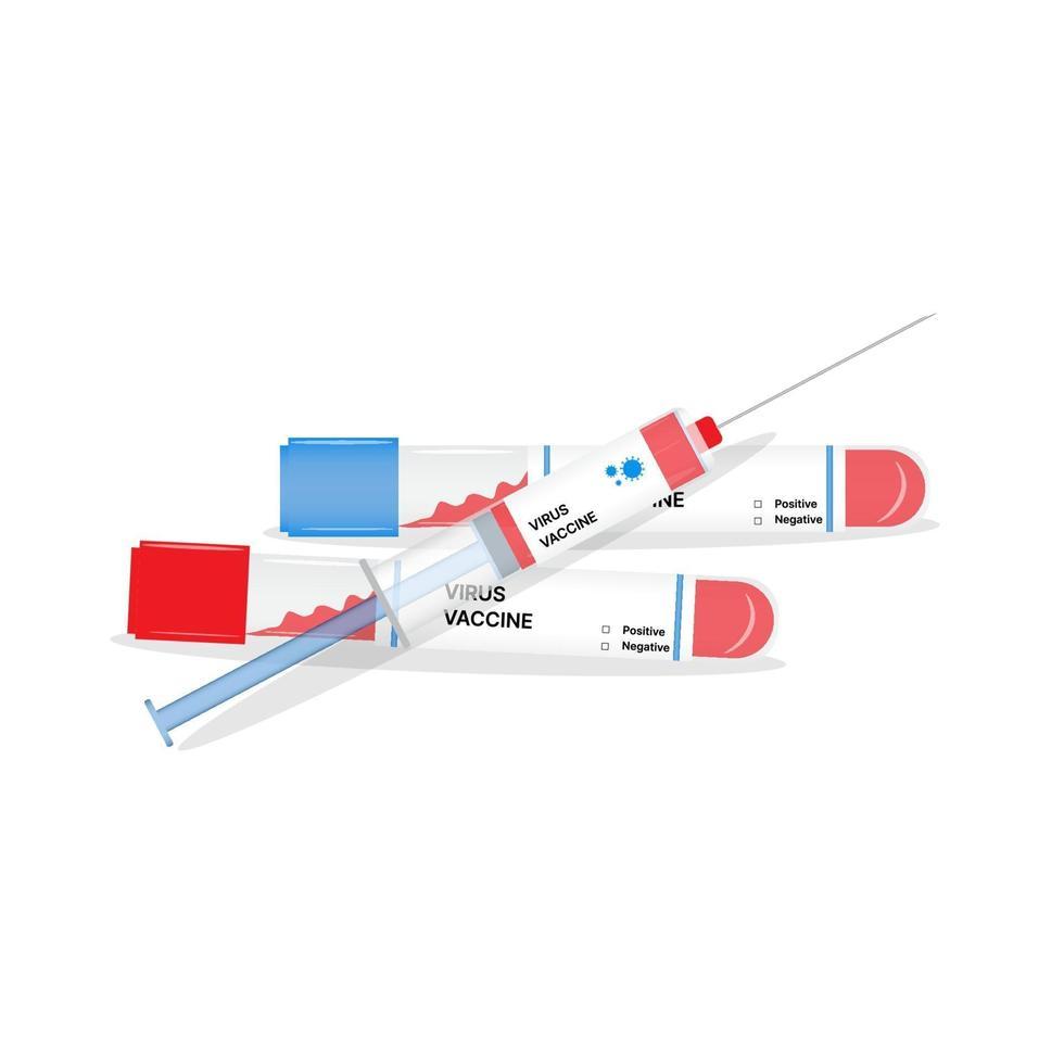Vektor-Impfstoffflasche und Spritze. Covid-19-Coronavirus-Konzept vektor