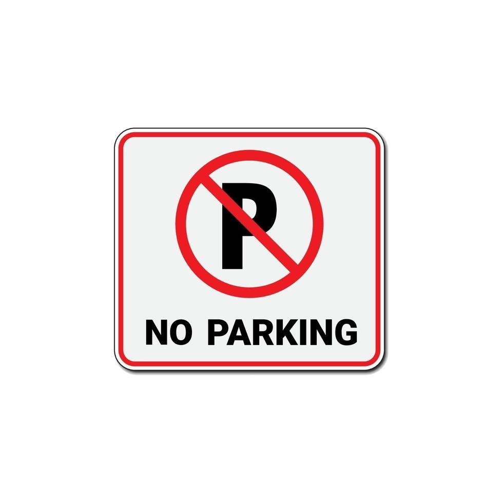 kein Parkschild oder Verkehrsparkverbotsschild lokalisiert auf weißem Hintergrund. vektor