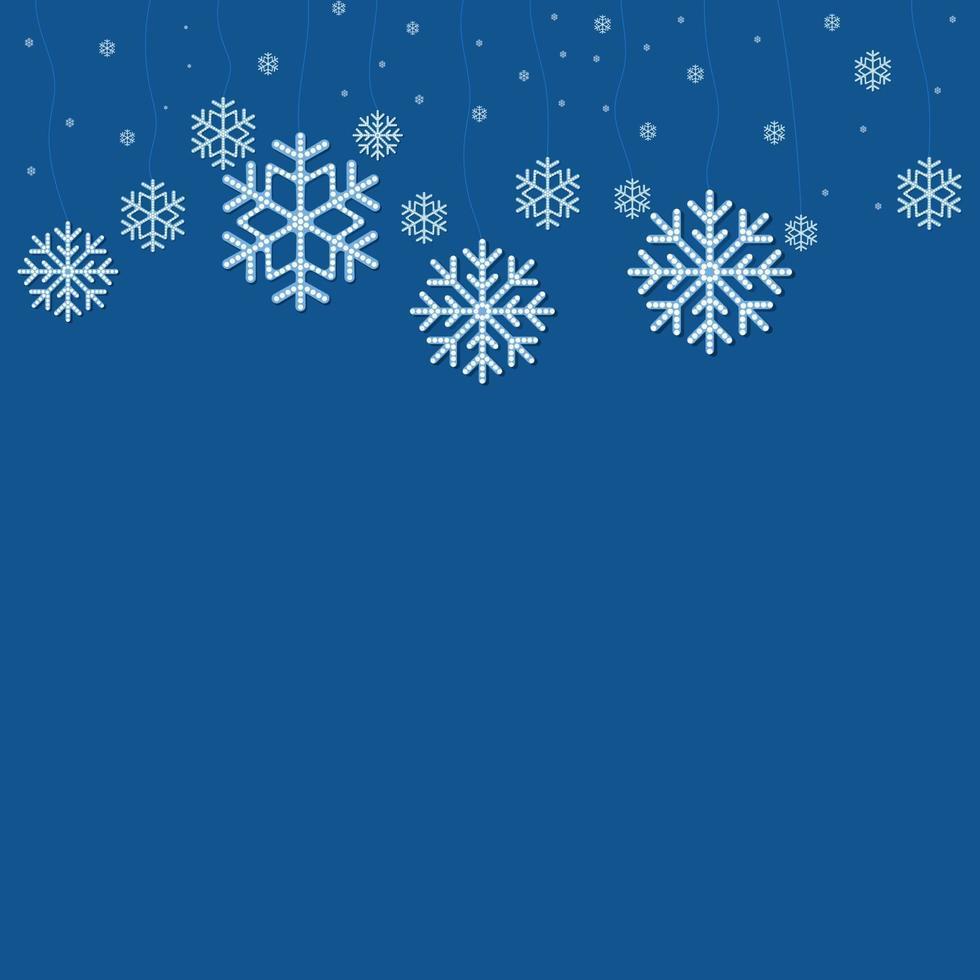 jul fallande snöflinga vektor isolerad på blå bakgrund.