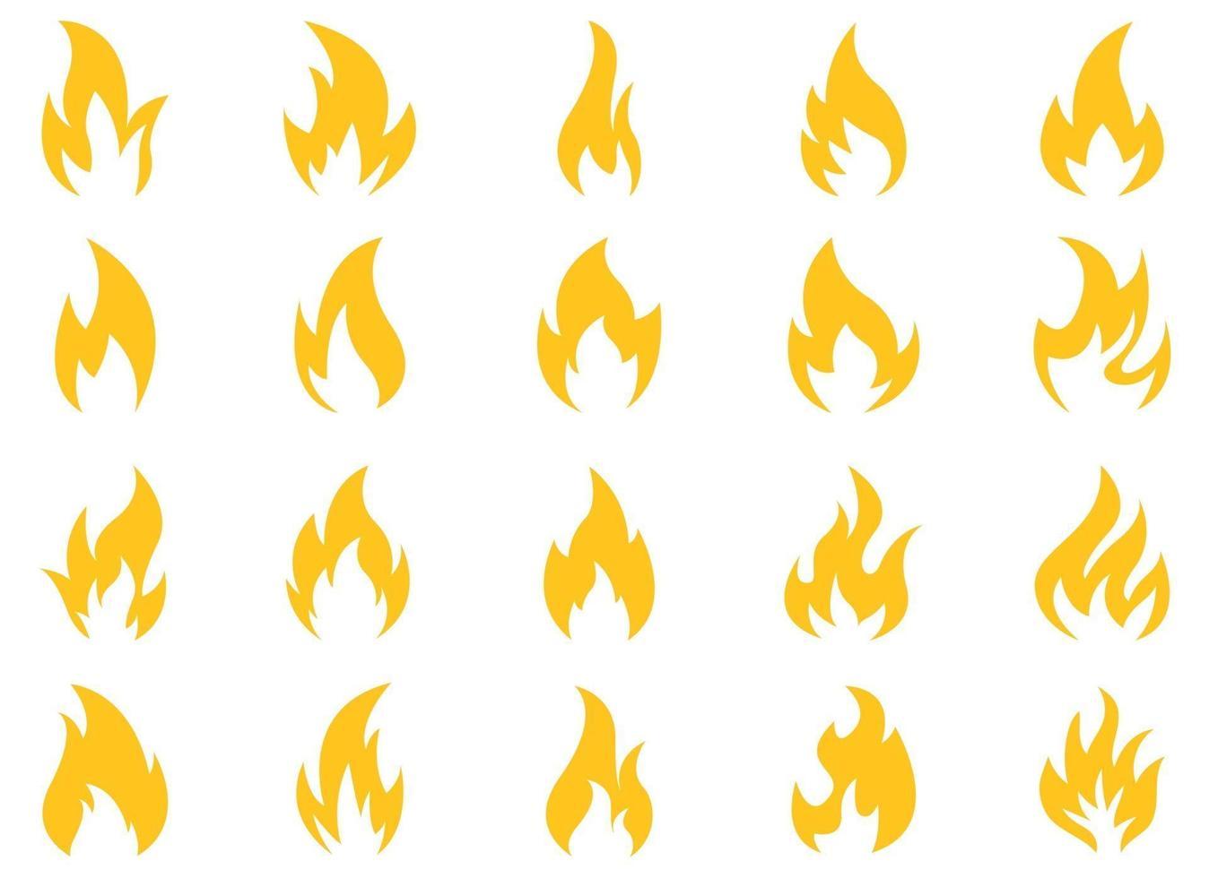 Feuerikonenvektor-Entwurfsillustrationssatz lokalisiert auf weißem Hintergrund vektor