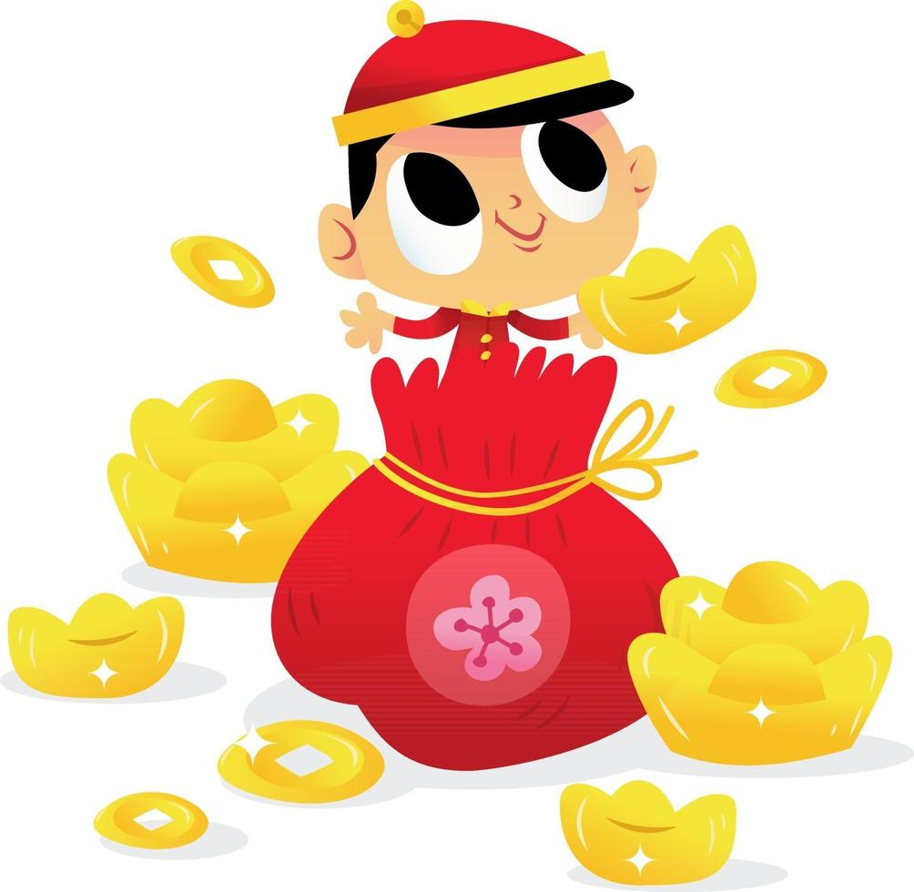 supersöt kinesisk nyårspojke ur guldpåse vektor