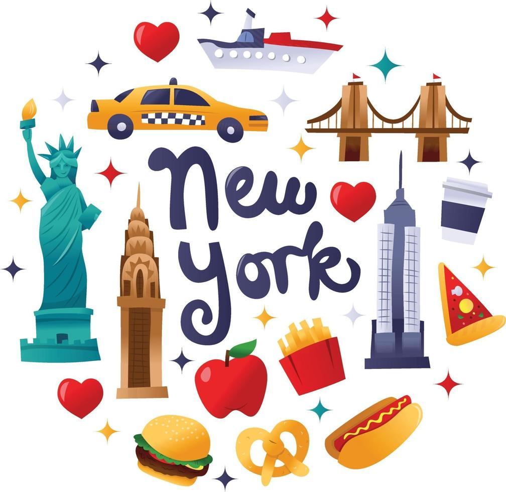 super süße New Yorker Kultur runde Dekorationen vektor