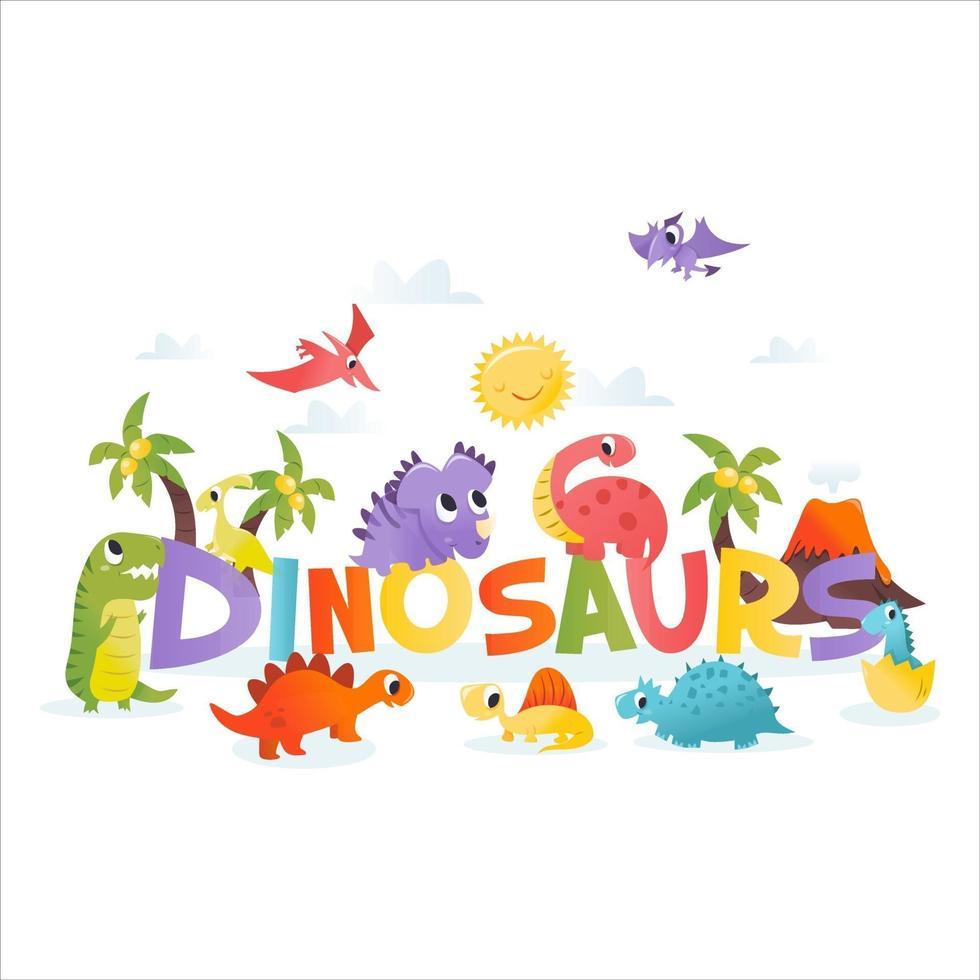 super söta tecknade dinosaurier ord scen vektor