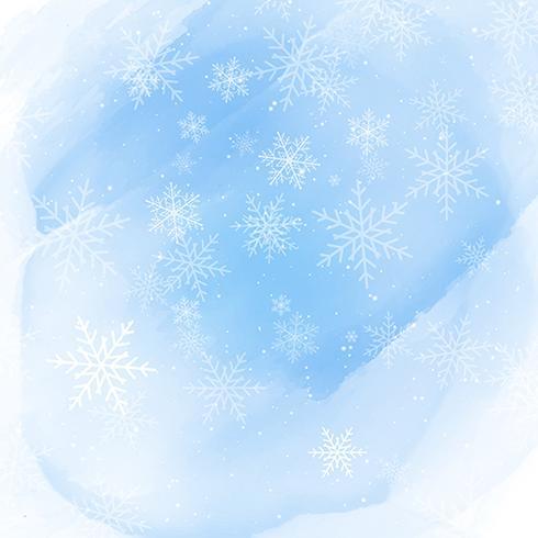 Jul snöflingor på en akvarell bakgrund vektor