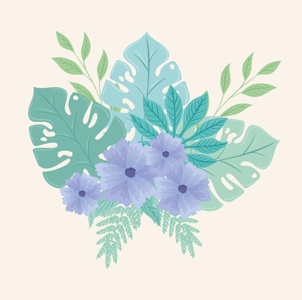 blommor och löv på pastellfärger vektor