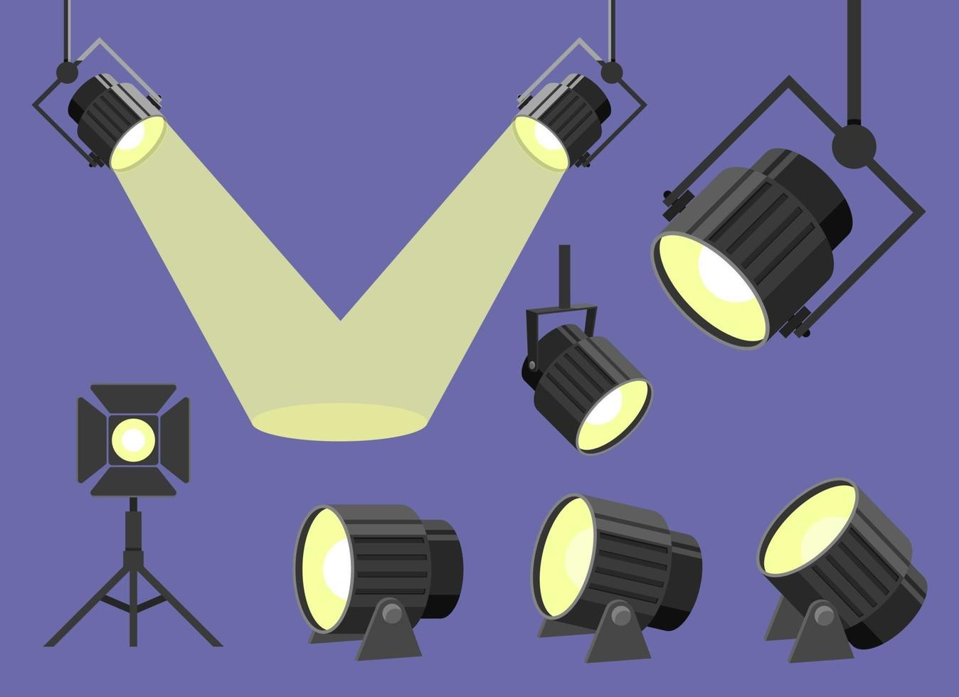 Scheinwerfervektor-Entwurfsillustrationssatz lokalisiert auf Hintergrund vektor