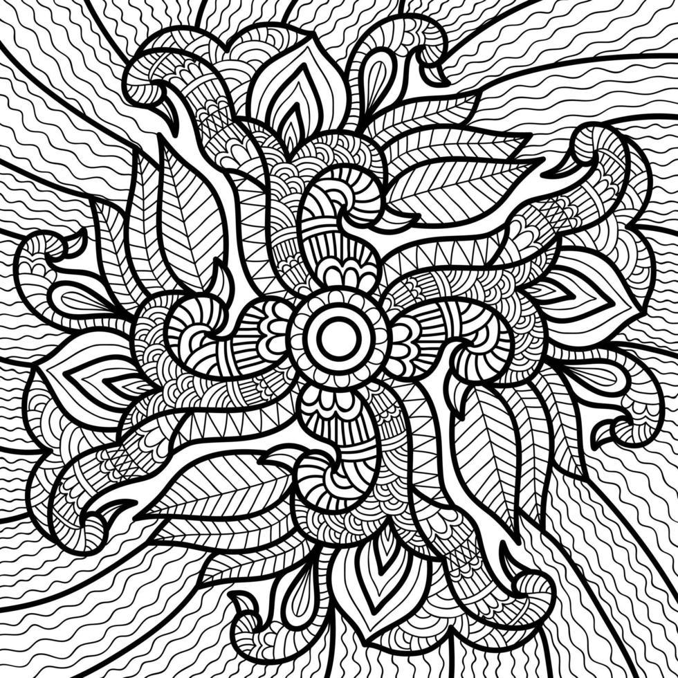 Doodle Henna Design Malbuch Seite für Erwachsene und Kinder. weiß und schwarz rund dekorativ. orientalische Anti-Stress-Therapiemuster. abstraktes Zen-Gewirr. Yoga Meditation Vektor-Illustration. vektor