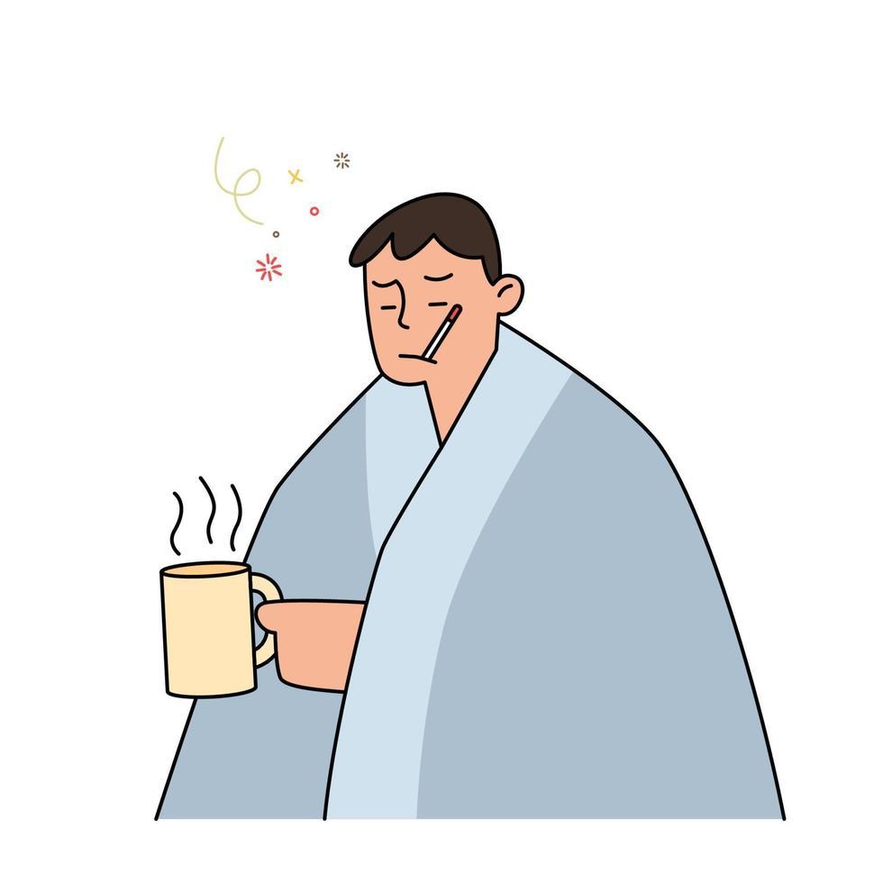 Mann mit Grippe und Kälte unter der Decke, die einen heißen Tee hält und ein Thermometer in ihrem Mund, Hand gezeichnete Artvektorillustration hält. vektor