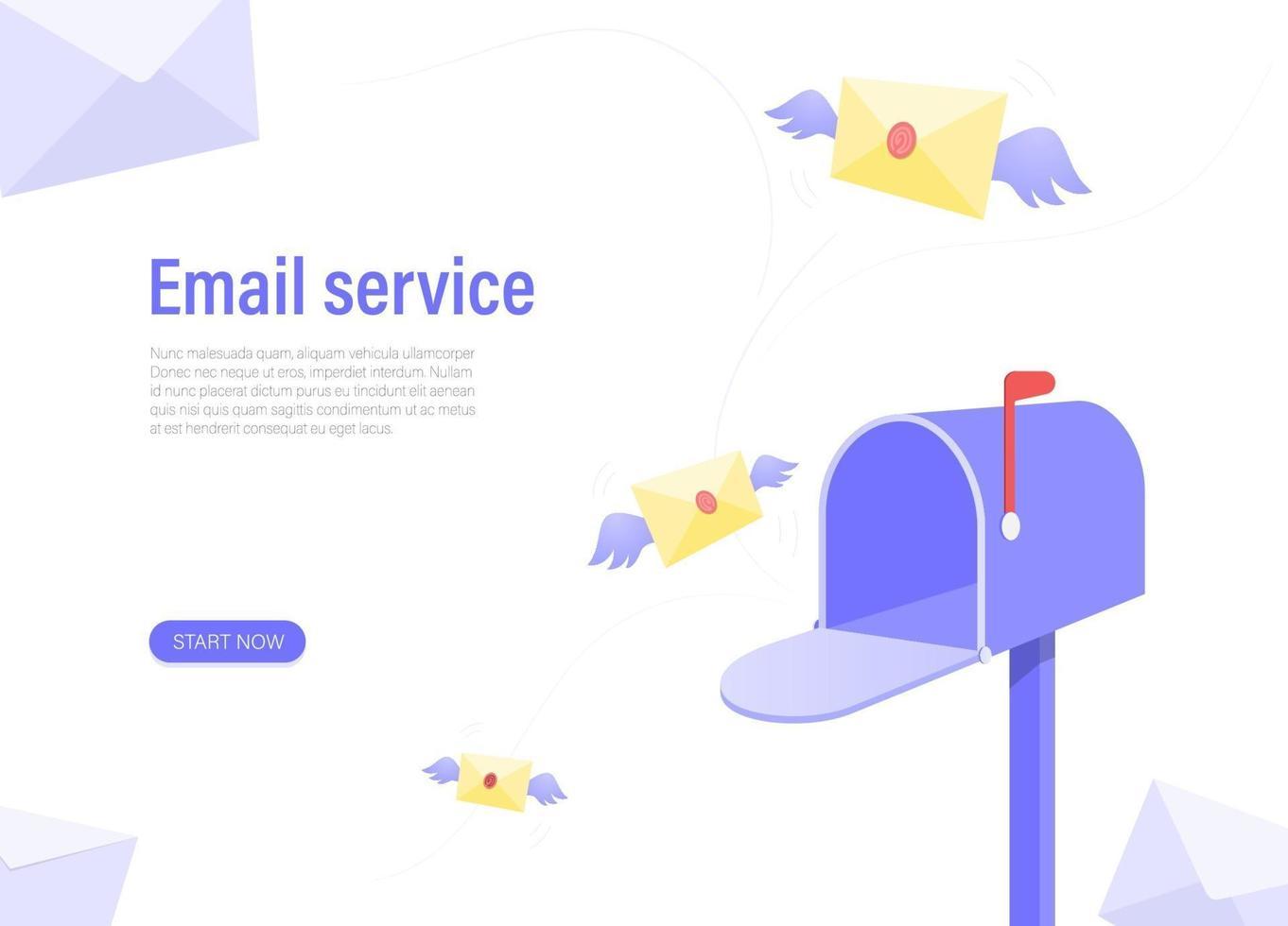 e-posttjänst. begreppet postlådelayout för grafisk design. vektor illustration