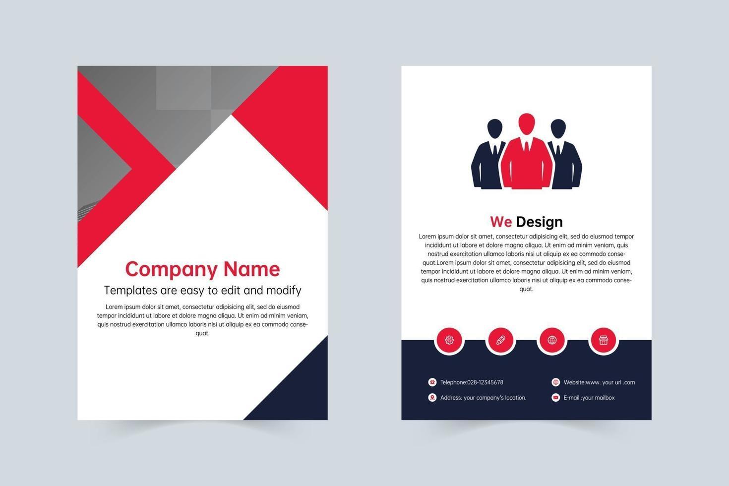 företag röd, marinblå företag enkel broschyr vektor