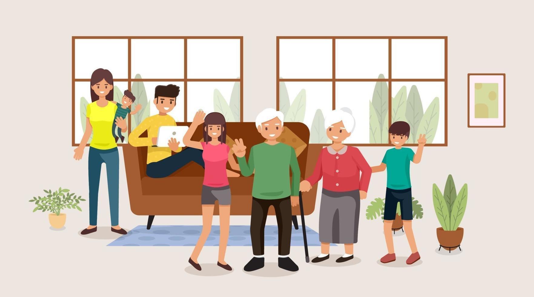 Familie, Leute, Mutter und Vater mit Babys, Kindern und Großeltern, Vektorillustration flaches Design vektor