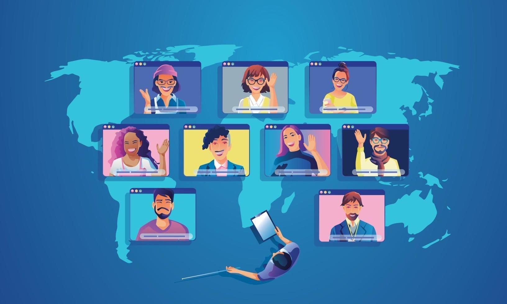 affärsmän använder videokonferens landning arbetar ovanifrån människor på fönster skärmen tar med kollegor. fjärrarbetande videokonferens och online-mötesarbetsplats sida man kvinna lärande vektor