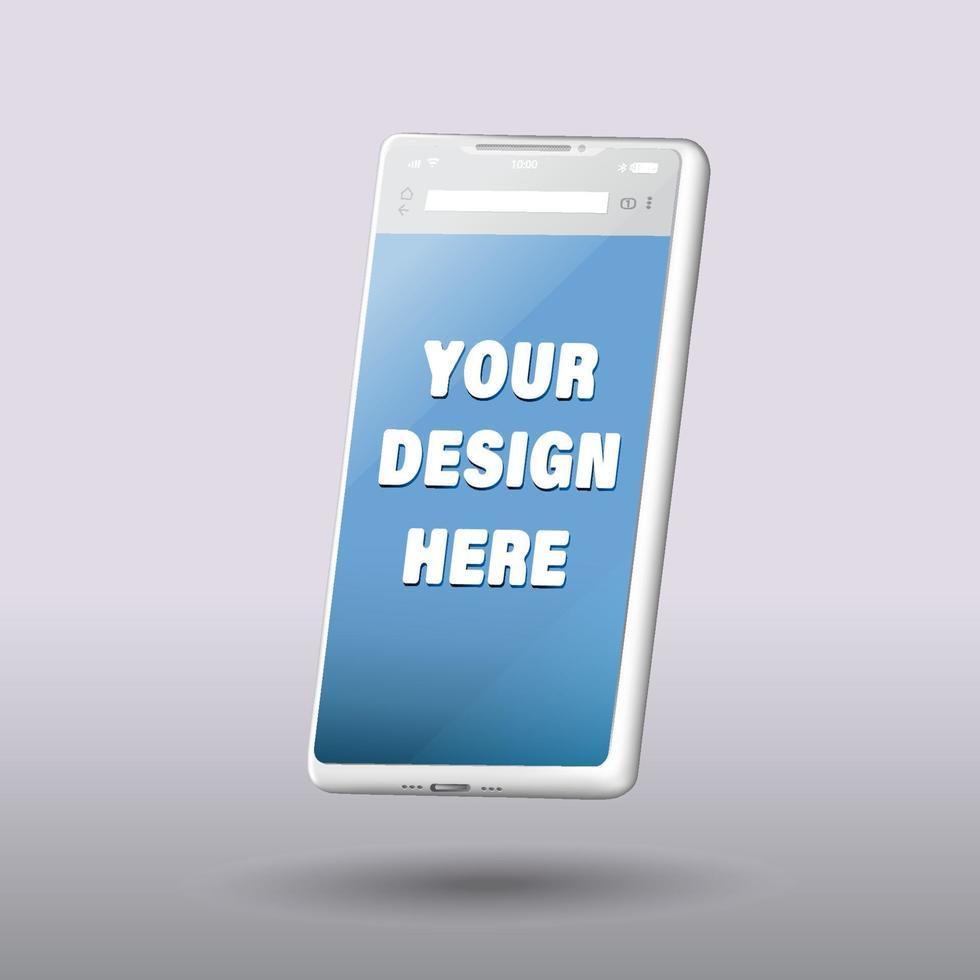 smartphone tom skärm, telefon mockup, mall för infographics eller presentation design gränssnitt vektor