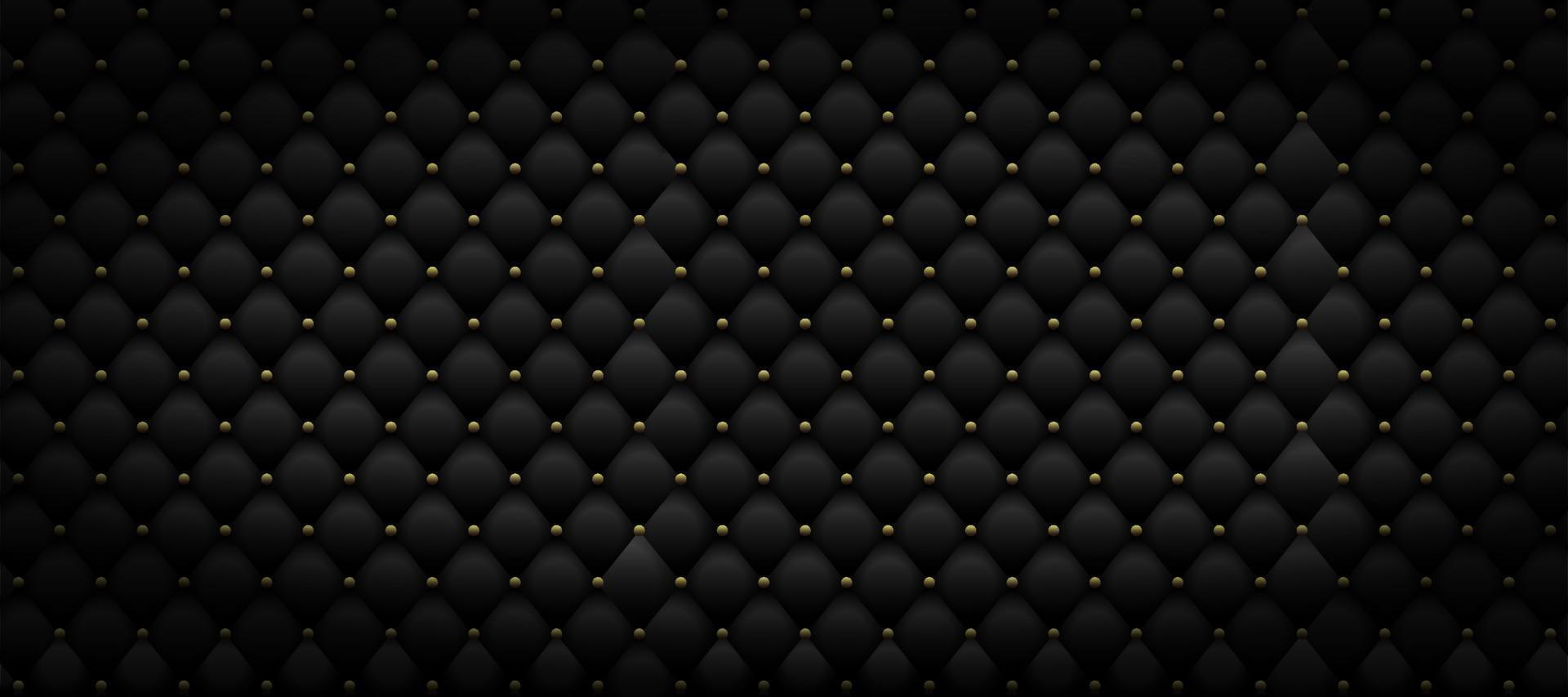 schwarzes Ledermuster mit goldenem Metall. Luxus Hintergrund. Vektorillustration vektor