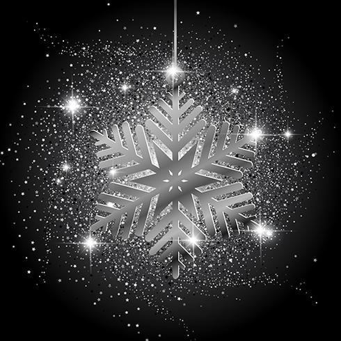Jul snöflinga glitter bakgrund vektor