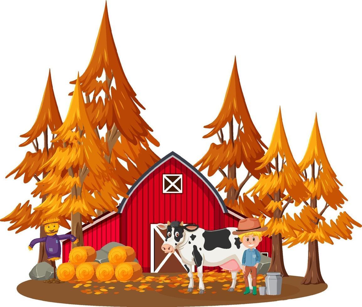 Bauernhaus mit einem Bauern und Bauernhoftieren auf weißem Hintergrund vektor