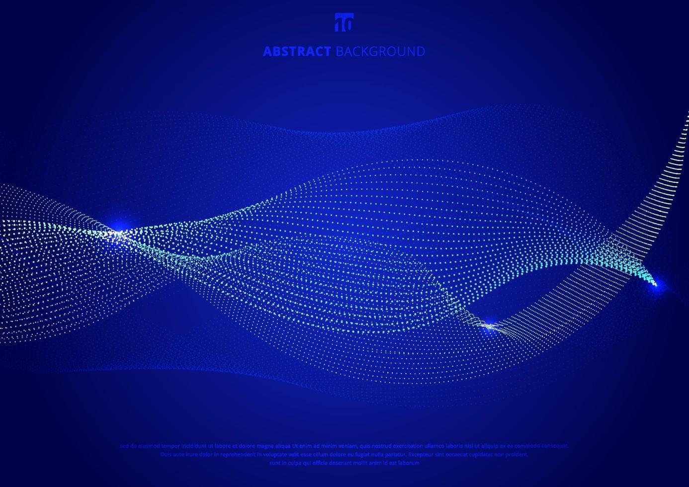 abstrakt blå kurvpartiklar som glöder på mörkblå bakgrundsteknologistil. vektor