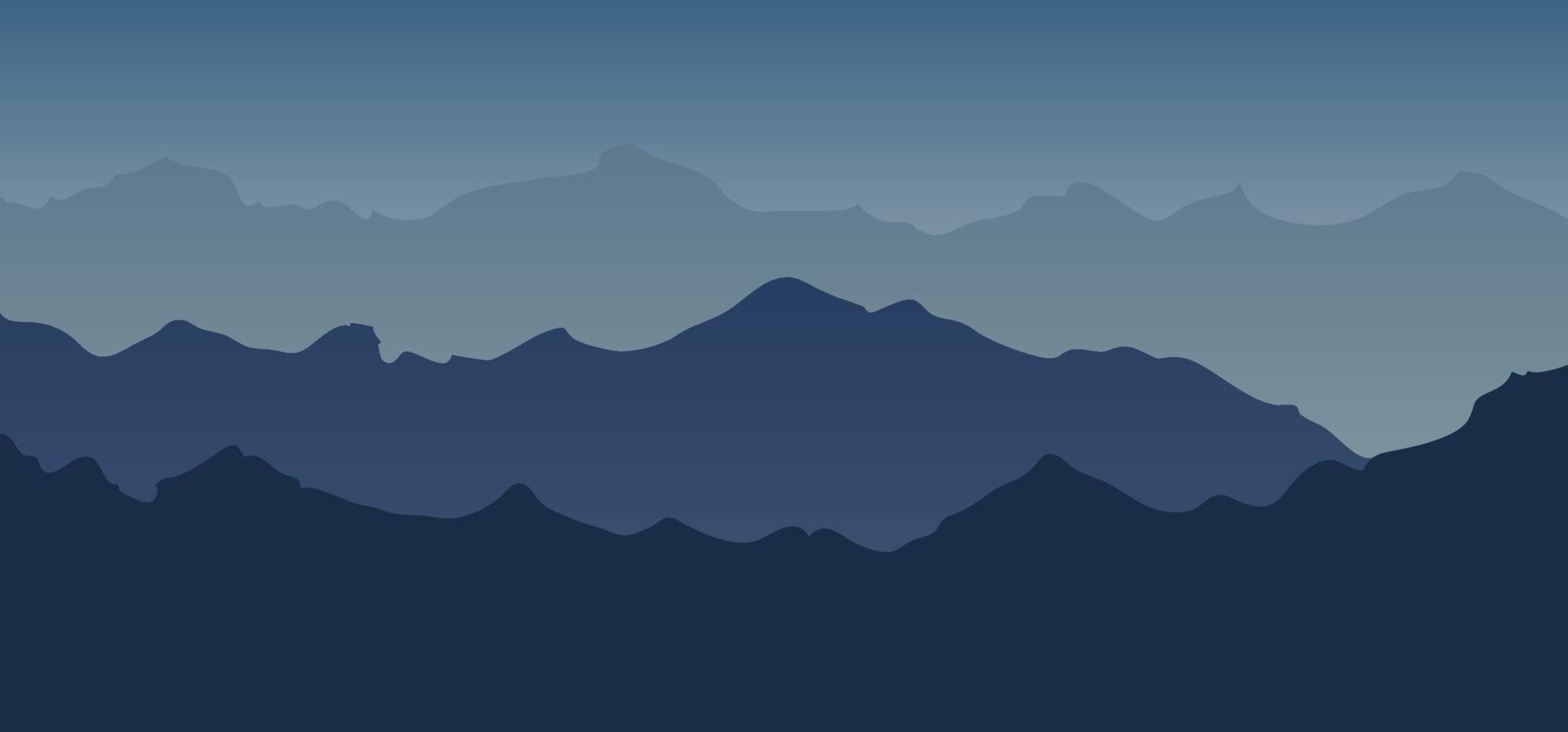 berg landskap visa blå ton silhuett bakgrund. vektor