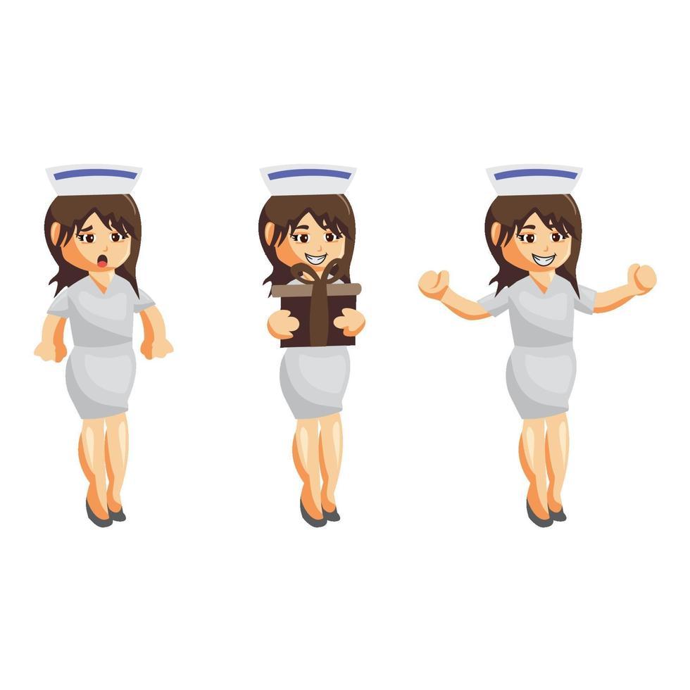 Krankenschwester Frau Krankenhaus Zeichensatz vektor