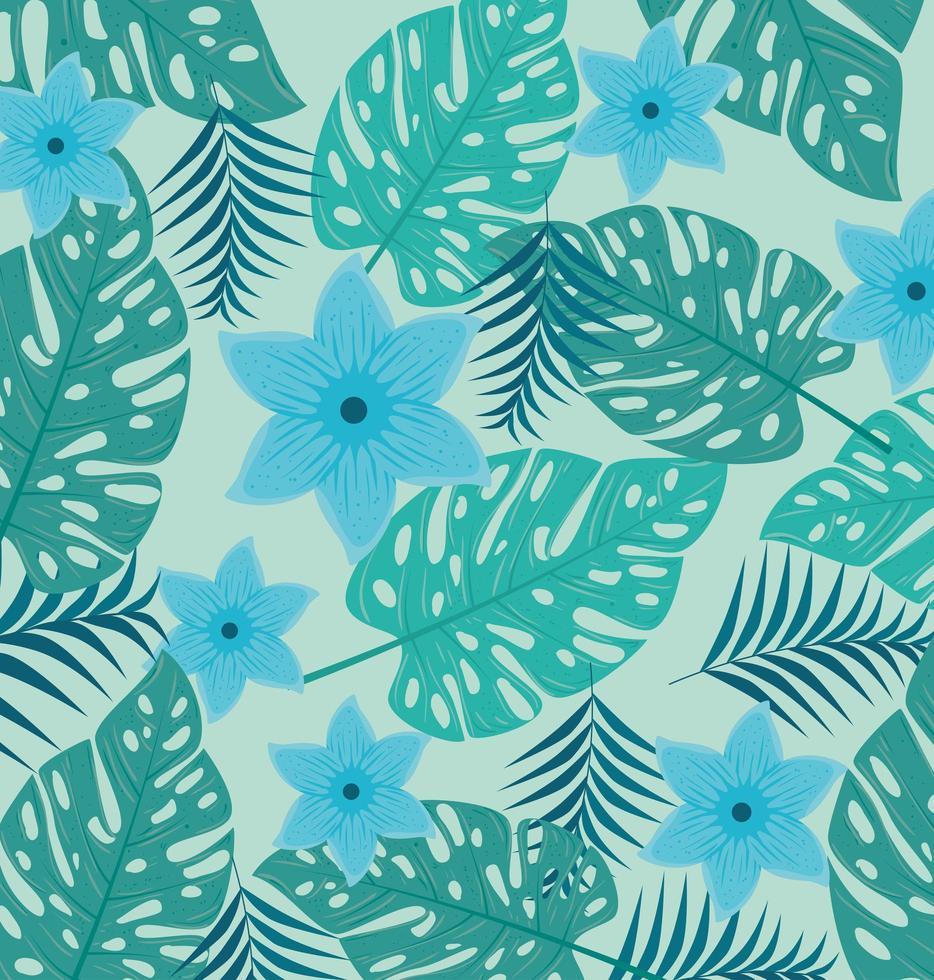 tropisk bakgrund med blå blommor och gröna blad vektor