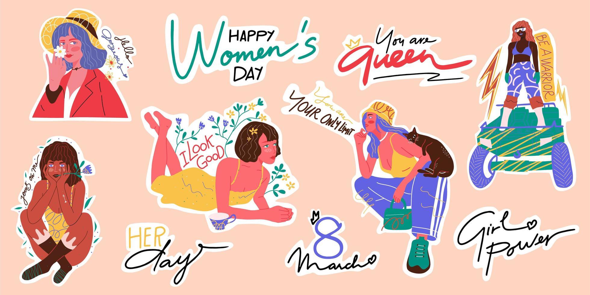 Frauen Empowerment Sticker Pack. Hand gezeichnete Vektorillustration. Aufklebersammlung. 8. März, glückliches Frauentagikonsatz. vektor