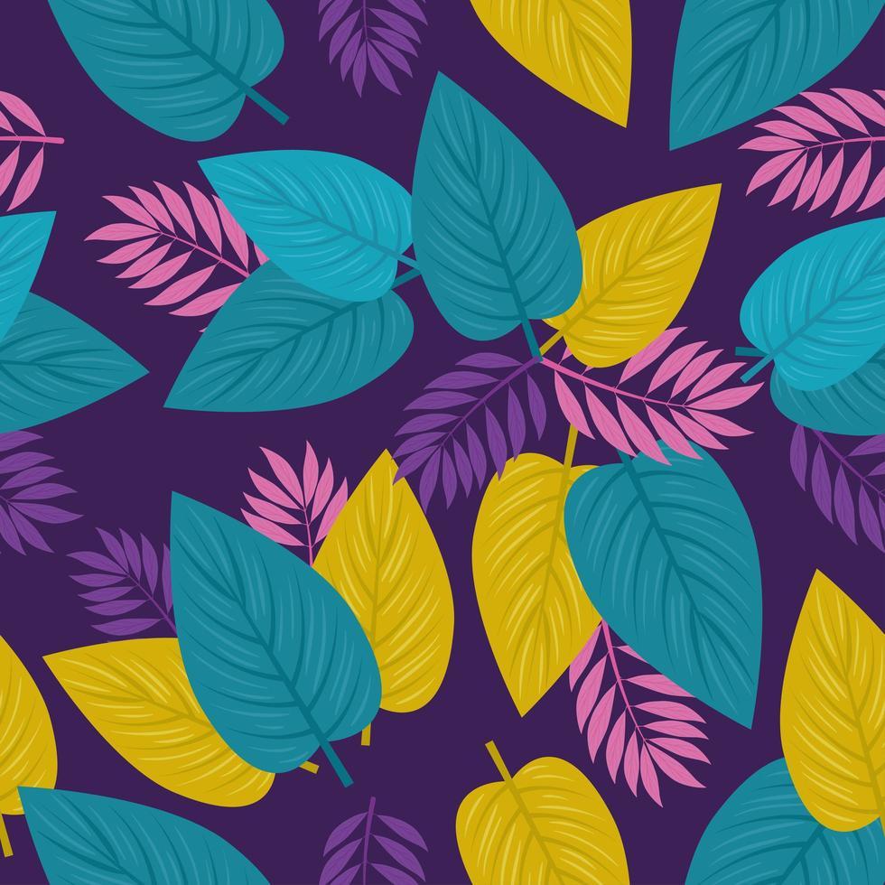 tropischer Laubhintergrund mit bunten Blättern vektor