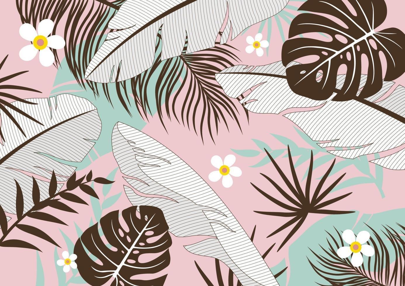 tropische Blätter Hintergrundvektorillustration vektor
