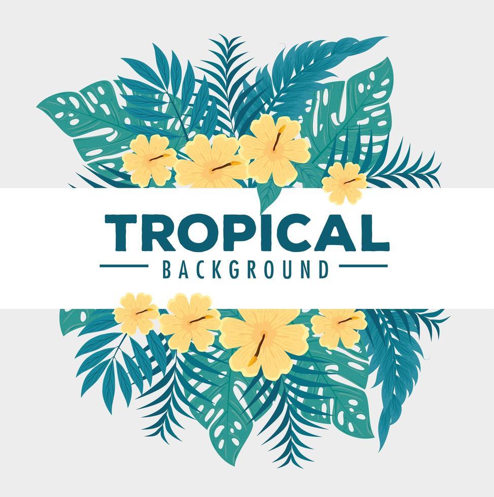 tropischer Laubhintergrund mit grünen Blättern und gelben Blumen vektor