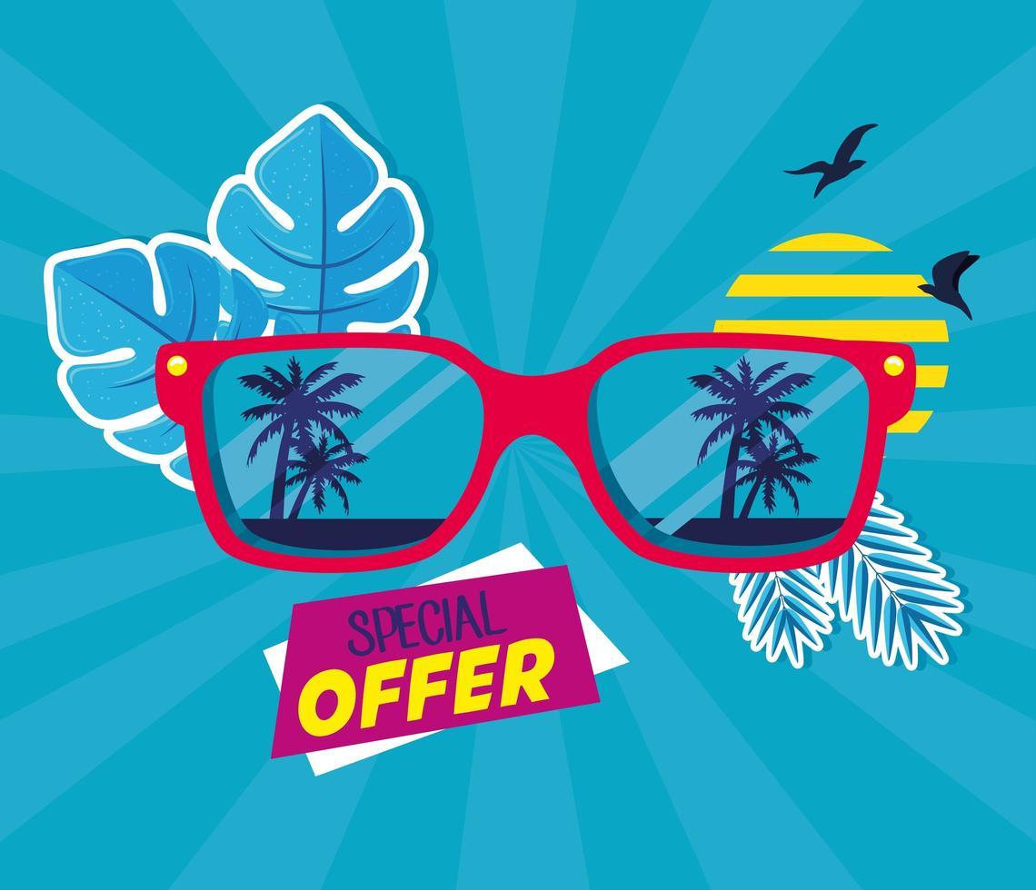Sommer Sale Banner mit Sonnenbrille vektor