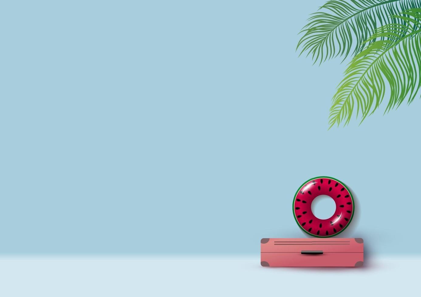 Minimales Sommerkonzeptdesign von Gepäck und aufblasbarer Wassermelone mit Kopienraumvektorillustration vektor