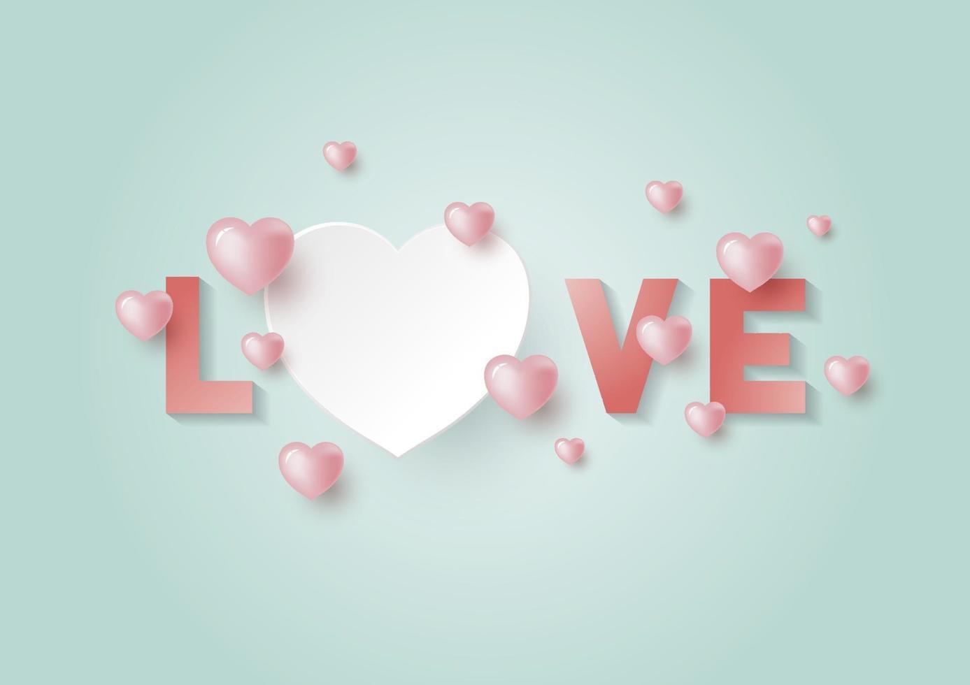 Liebe mit Herzen mit Kopienraum für Valentinstag und Hochzeitskarte Vektor-Illustration vektor