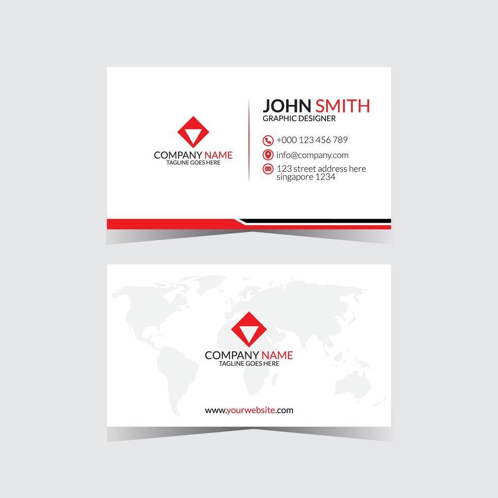 weißes und rotes modernes Visitenkarten-Design vektor