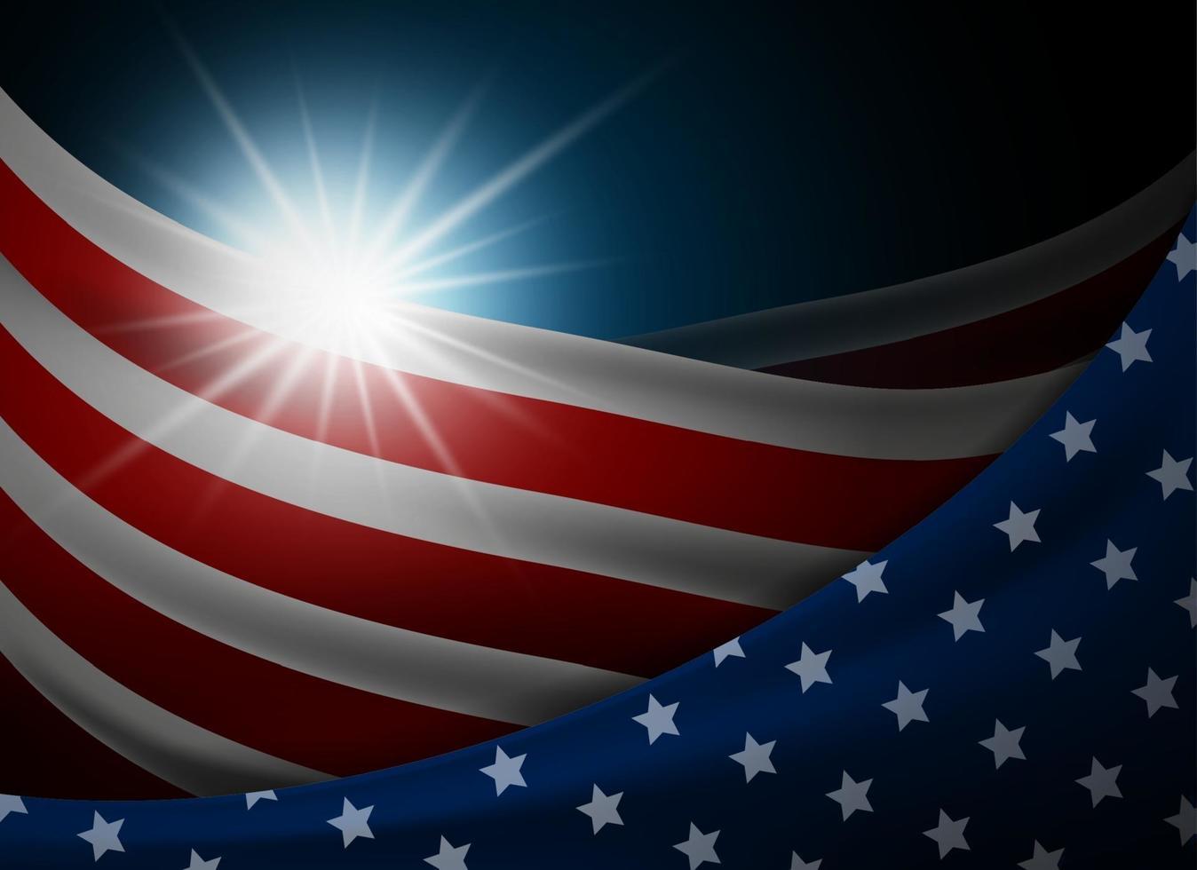 amerikanische oder USA-Flagge mit heller Hintergrundvektorillustration vektor
