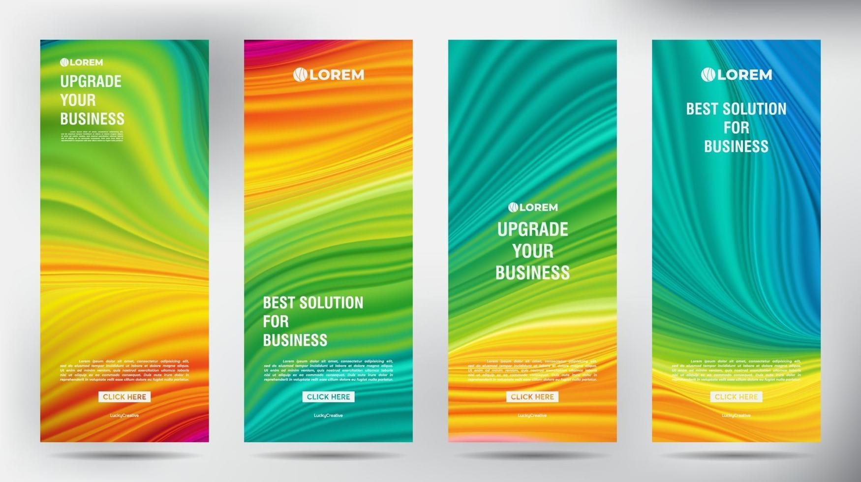 Netz Farbfluss Roll-up Geschäftsbroschüre Flyer Banner Design vertikale Vorlage, Cover Präsentation Hintergrund, moderne Publikation X-Banner und Flag-Banner, Satz von Roll-Up-Banner Stand Vorlage Design vektor