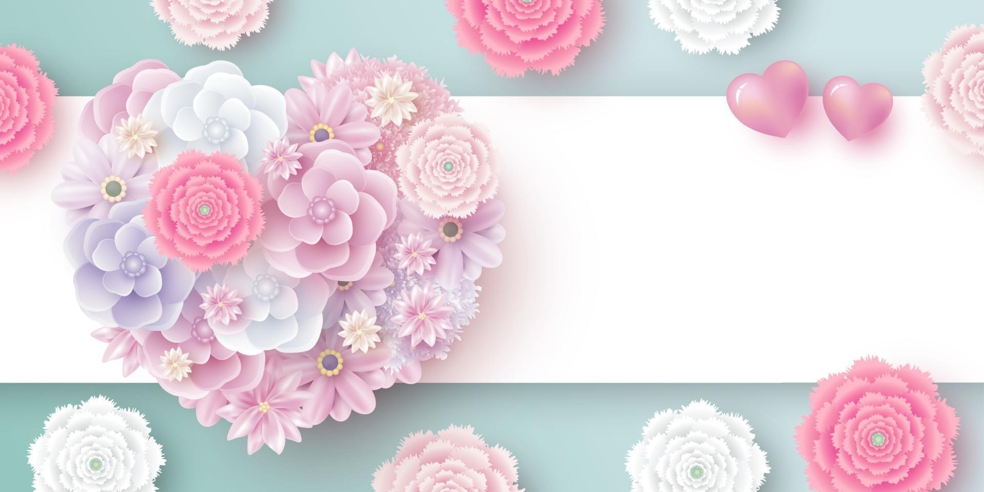 Blumen in Herzform mit Kopienraum für Valentinstag Muttertag Vektor-Illustration vektor