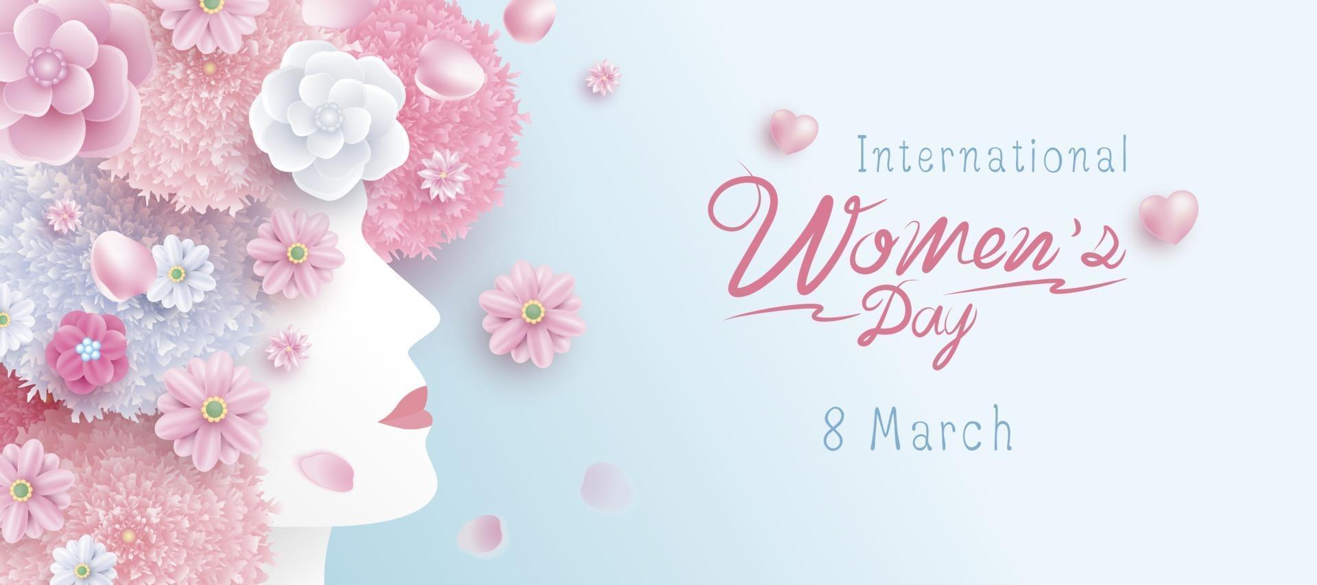 8. März internationaler Frauentag Konzeptentwurf der Frau und Blumen Vektorillustration vektor