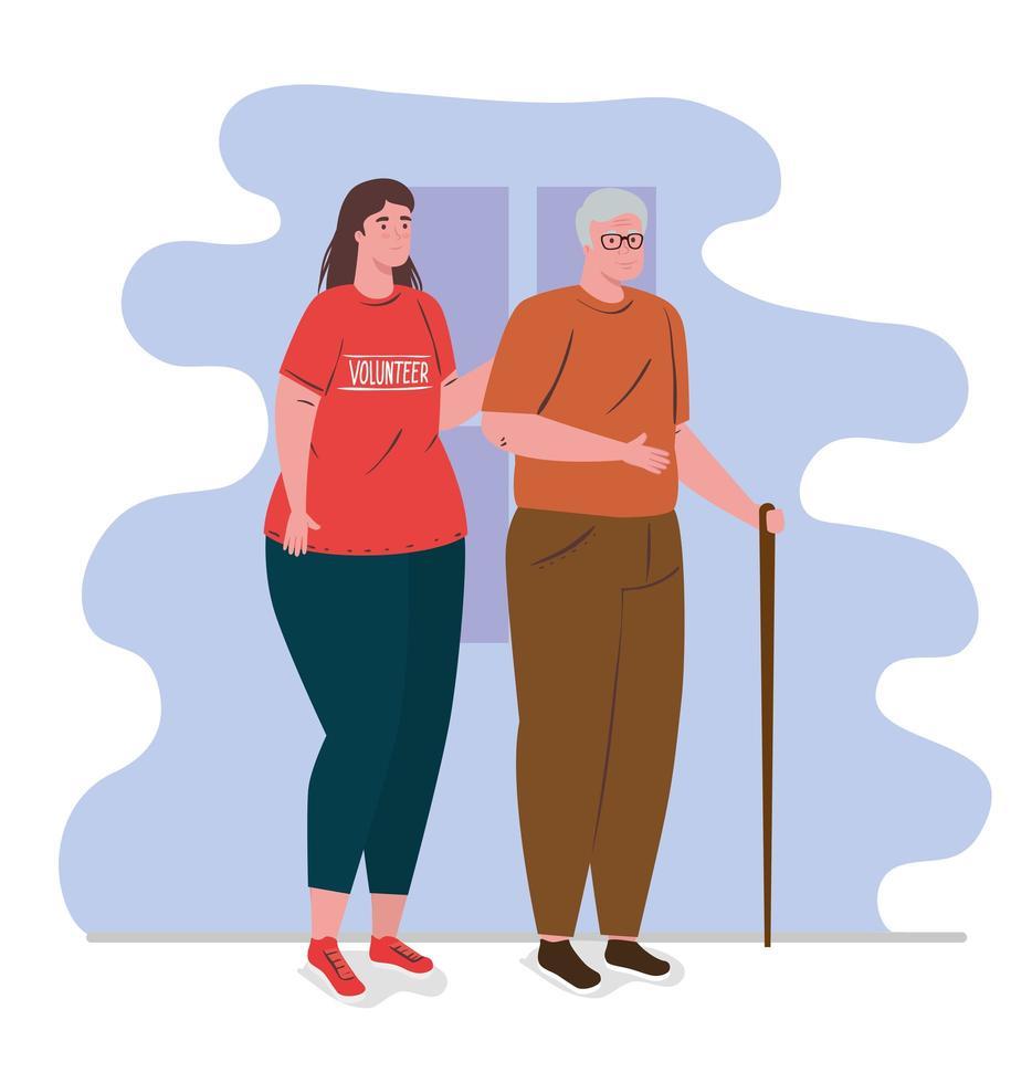 Freiwillige Frau mit einem Seniorenmann, Wohltätigkeits- und Sozialspendenkonzept vektor