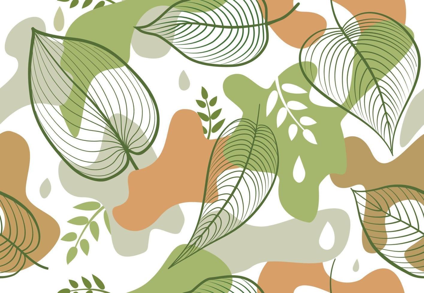 nahtloses Muster mit organischen Formflecken im Memphis-Stil. stilvolle Blumen gemalte Tapete mit Blättern. vektor